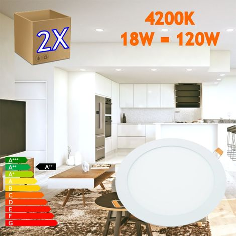 jandei 2x Downlight LED 18W Redondo Plano De Empotrar Luz Blanca Neutra 4000K, Aluminio Aro Blanco Mate, Para Hueco De 200-205mm Blanco