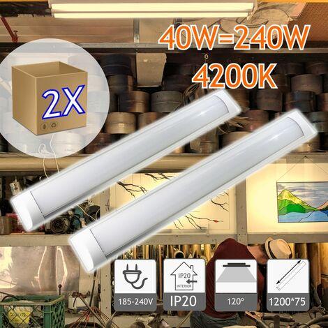 jandei 2X Regleta LED, 36W 120cm, Luz Neutra 4000K, Protección IP20 Para Interior, Equivalente A 2 Tubos Fluorescentes 3600 Lúmenes