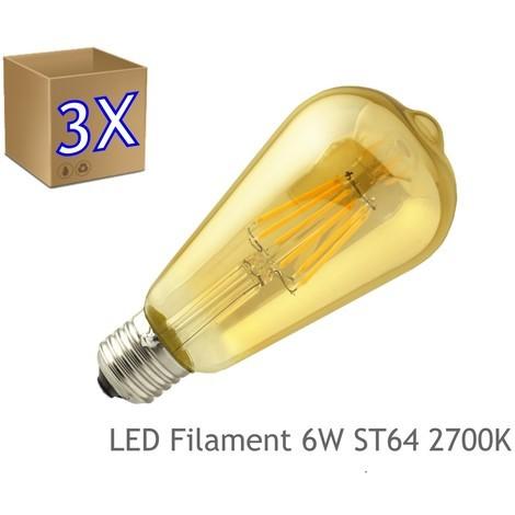 jandei 3 x Bombilla led ST64 Filamento 6W E27 blanca 2700K dorada