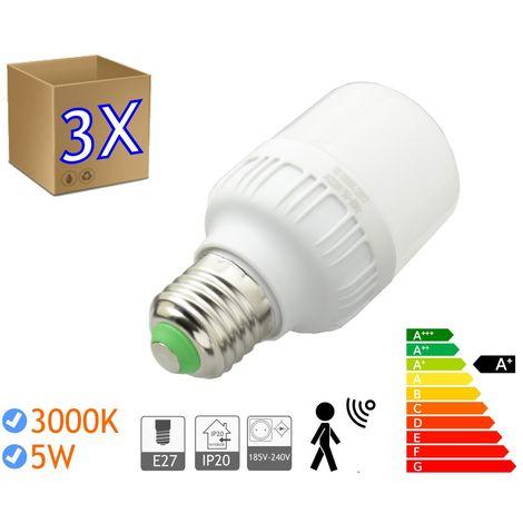jandei 3 x Bombillas LED 5W rosca E27 luz 3000K blanco cálido SENSOR