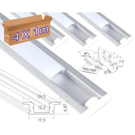 jandei 4 * 1m Perfil aluminio tira led empotrar tapa redondeada traslúcida 24,5x17,5mm