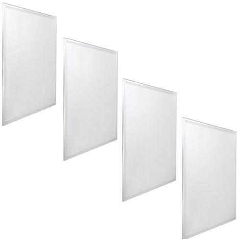 jandei 4x Panel LED 60x60cm 48W 6000K retroiluminado 3840lum marco blanco para teccho de placas tipo armstrong, hotel, oficina, industria