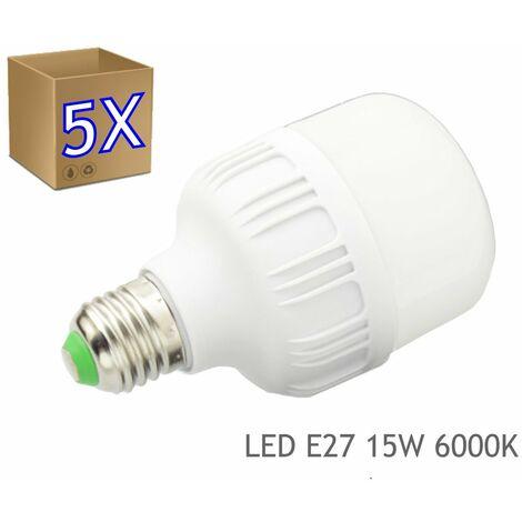 jandei 5x Bombilla LED 15W rosca E27 luz 6000K blanco frio