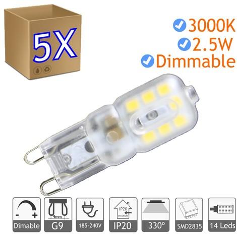 jandei 5x Bombilla LED G9 regulable 2.5W blanco 3000ºK calido Blister