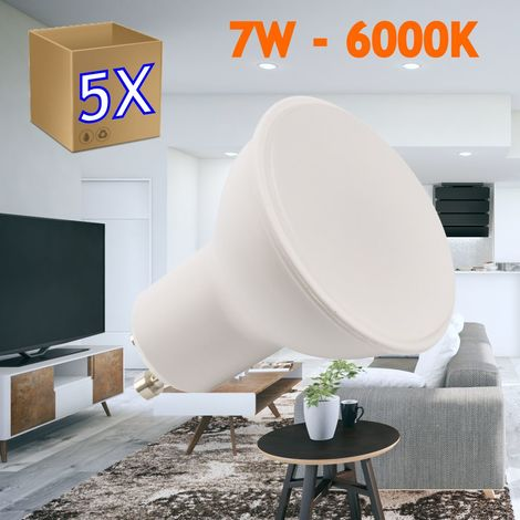 jandei 5x Bombilla led GU10 de 7W equivalente a 50W, 120º de apertura, en blanco frio 6000K, natural 4000K y calido 3000K, no regulable de 50x50mm marco blanco - (6000K Frio)