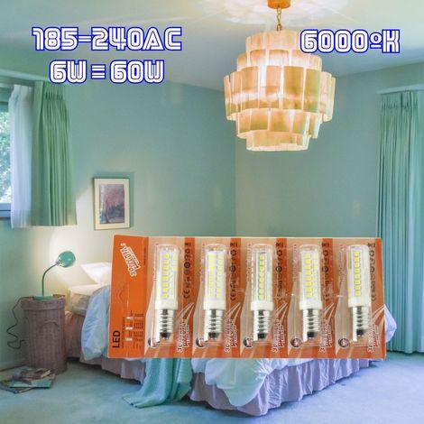 jandei 5x bombilla led rosca E14 de 6W, 600 lúmenes, tamaño mini, blanco frio 6000K. en blister pra lampara pequeña, araña, salon