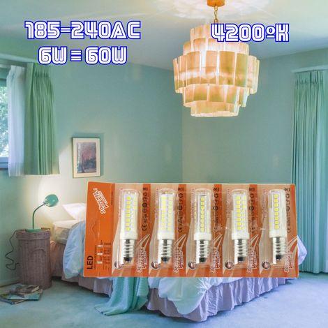 jandei 5x bombilla led rosca E14 de 6W, 600 lúmenes, tamaño mini, blanco natural 4200K. en blister pra lampara pequeña, araña, salon