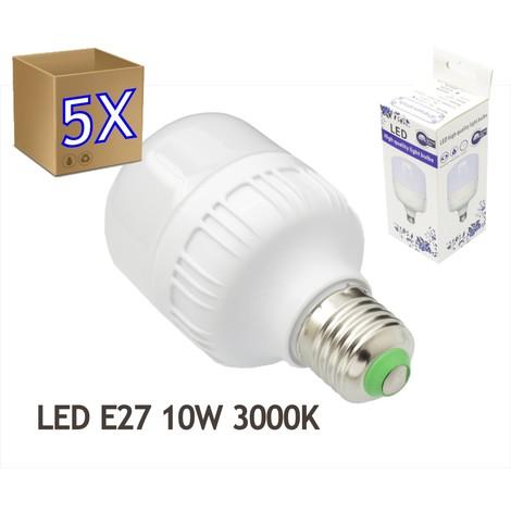 jandei 5x Bombillas LED 10W rosca E27 luz 3000K blanco cálido