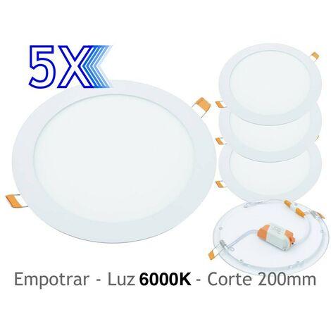 jandei 5x Downlight LED 18W Redondo Plano De Empotrar Luz Blanca Fría 6000K, Aluminio Aro Blanco Mate, Para Hueco De 200-205mm Blanco