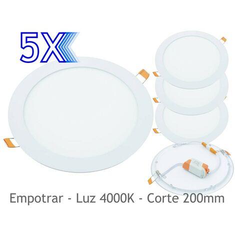 jandei 5x Downlight LED 18W Redondo Plano De Empotrar Luz Blanca Neutra 4200K, Aluminio Aro Blanco Mate, Para Hueco De 200-205mm Blanco
