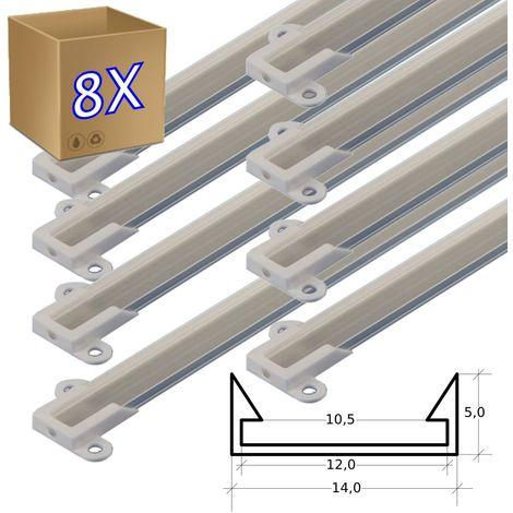 jandei 8 * 1 metro Perfil aluminio tira led con tapa superficie 14 x 5 mm