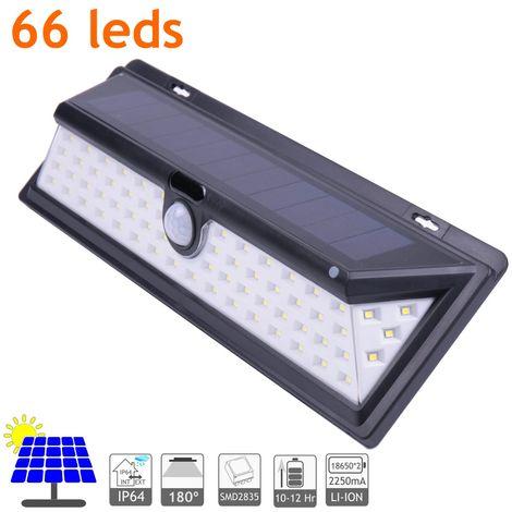 jandei Aplique Solar LED Exterior IP64, 65 LEDS 800 Lúmenes. Ángulo Detección 120º Batería Li-ion 2500mA, Sensor De Movimiento, 3 Modos De Iluminación. Duración hasta 12 Horas En Carga Total.