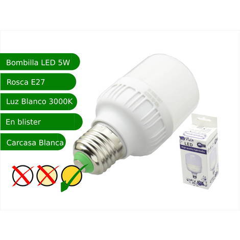 jandei Bombilla LED 5W rosca E27 luz 3000ºK blanco calido