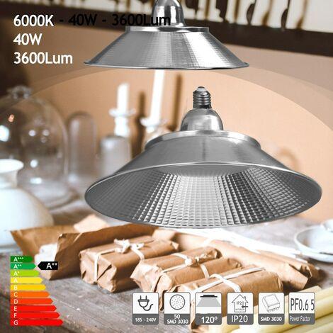 jandei Bombilla led con campana 40W 3600 lumenes blanco frío 6000K para taller, mesa trabajo, almacén etc..
