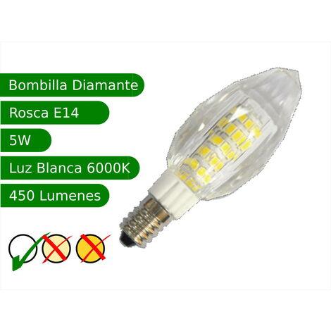 jandei Bombilla LED E14 5W diamante blanco 6000ºK frio Blister