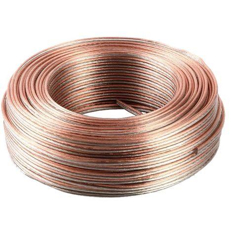 jandei Cable paralelo transparente, 2 cables sección 1,5mm, altavoces, led, alimentación 12V 24V bobina 100 metros, marcado positivo y negativo