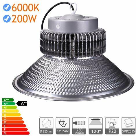 jandei Campana LED suspendida 200W 21000 lúmenes (=600W) luz blanca 6000K Interior IP20 para taller, almacén...