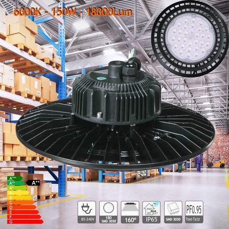 jandei Campana LED UFO 150W 13500 Lum luz blanca 6000K estanca IP65 para taller, nave hangar, comercio, garaje, gimnasio