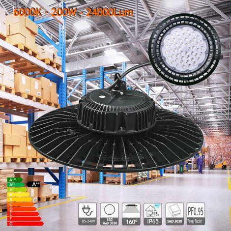 jandei Campana LED UFO 200W 18000 Lum luz blanca 6000K estanca IP65 para taller, nave hangar, comercio, garaje, gimnasio