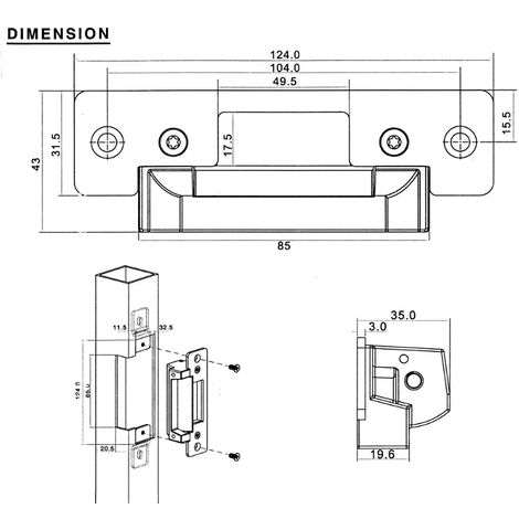 jandei Cerradura electrica automática ANSI encastrada 124 * 43 * 35