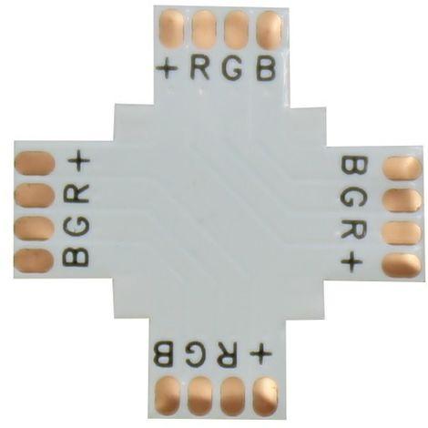 jandei Conector RGB en cruz 90º 10mm para tira led Pack 10 ud