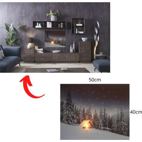 jandei Cuadro Paisaje LED Con Interruptor (Montaña, 50 * 40 * 1,8) Casa En La Nieve Con Cielo Estrellado Con Iluminación De 1 LED Y 53 Puntos De Fribra Óptica, 2 Pilas AA