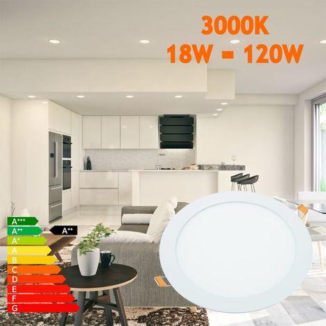 jandei Downlight LED 18W Redondo Plano De Empotrar Luz Blanca Cálida 3000K, Aluminio Aro Blanco Mate, Para Hueco De 200-205mm Blanco