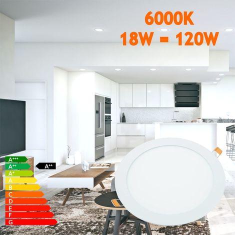 jandei Downlight LED 18W Redondo Plano De Empotrar Luz Blanca Fría 6000K, Aluminio Aro Blanco Mate, Para Hueco De 200-205mm Blanco