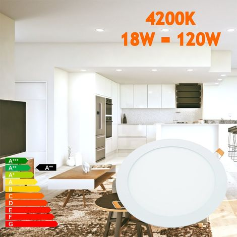 jandei Downlight LED 18W Redondo Plano De Empotrar Luz Blanca Neutra 4000K, Aluminio Aro Blanco Mate, Para Hueco De 200-205mm Blanco