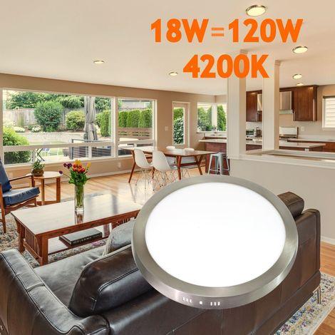 jandei Downlight led 18W redondo superficie luz natural 4200K, aluminio aro acero pulido, para hueco de 200-205mm