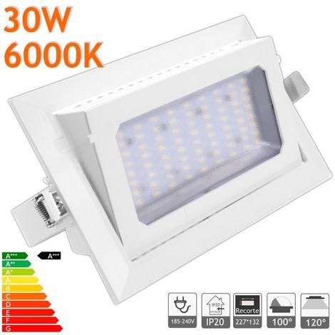 jandei Downlight LED Basculante rectangular empotrar, 30W 3100 lúmenes, Blanco Frio 6000K, aro blanco para tienda, exposición