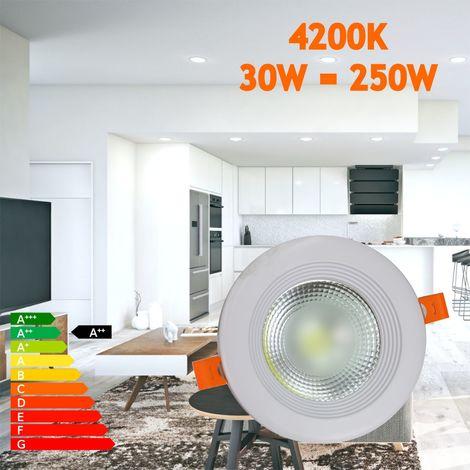 jandei Downlight LED COB redondo empotrar, 30W 3000 lúmenes (= bombilla 250W), luz blanca natural 4200K para salón, cocina, tienda, negocio, oficina