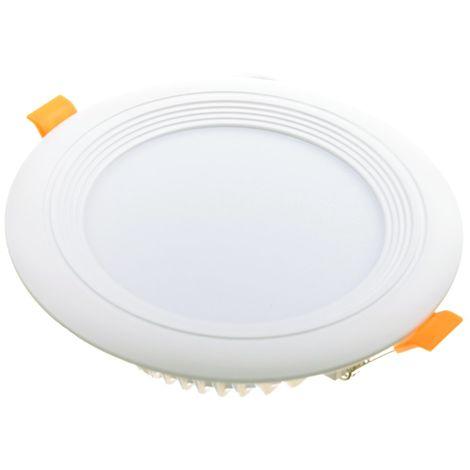 jandei Downlight LED OCEANO redondo empotrar, 12W 1080 lúmenes (= bombilla 90W) PF0,95, luz blanca calido 3000K para salón, cocina, tienda, negocio, oficina