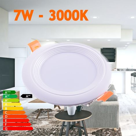 jandei Downlight LED OCEANO redondo empotrar, 7W 560 lúmenes (= bombilla 55W) PF0,95, luz blanca calido 3000K para salón, cocina, tienda, negocio, oficina