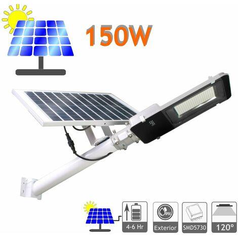 jandei Farola LED 100W Solar Exterior IP65 Panel Orientable 120 LEDS 1950 Lúmenes 6500K Blanco Frío Batería Ion-Litio
