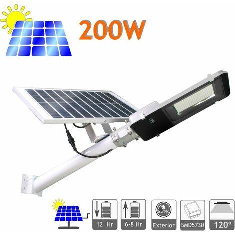 jandei Farola LED 200W Solar Exterior IP65 Panel Orientable 25W 200 LEDS 3000 Lúmenes 6000K Blanco Frío Batería Ion-Litio