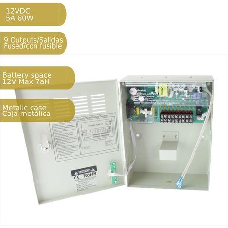 jandei Fuente de alimentación 220V-12Vdc 5A carga batería 9 salidas armario