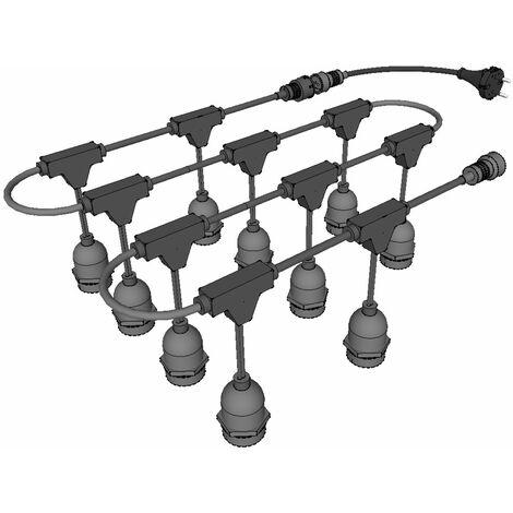 jandei Guirnalda exterior decorativa casquillo E27 suspendida 5mts 10 bombillas
