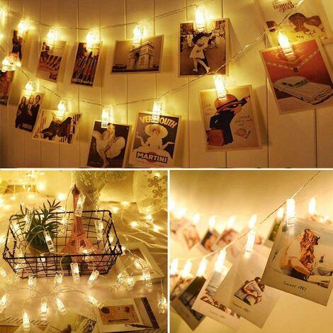 Jandei Guirnalda led 3m para fotos con 20 pinzas y 20 LEDs a pilas