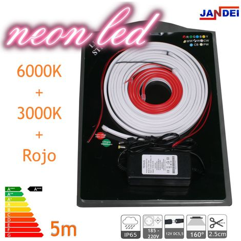 jandei Kit Neon led flexible 5 metros 12V 6*12mm multi colores transformador 1m cable