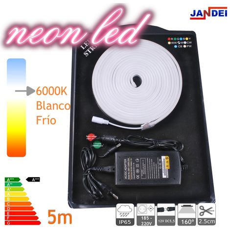 jandei Kit Neon led flexible 5m blanco frío 6000K decorativo 12VDC 6 * 12mm incluye transformador y 1m cable
