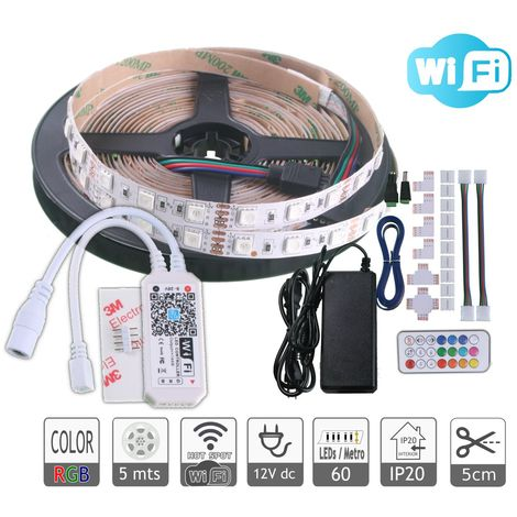 jandei Kit Tira LED RGB WiFi 5M RGB 300 LEDs 5050 IP20 Interior, Funciona Con Alexa Echo/Google Assistant, Multicolor Regulable.