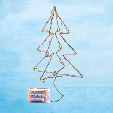 jandei Luz Decorativa De Navidad Varias Formas con Baterías Arbolito Navidad Led Alambre Dorado 30cm 15 Led Lenteja 3000K 3X Pilas AA