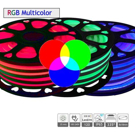 jandei Neon LED flexible 220-240V doble cara 7W/m RGB exterior IP65, bobina 25m, deoración , figuras, navidad, eventos
