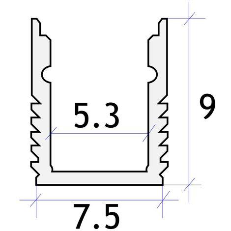 jandei Perfil aluminio estrecho tira led 2 metros superficie 7.5x9 mm