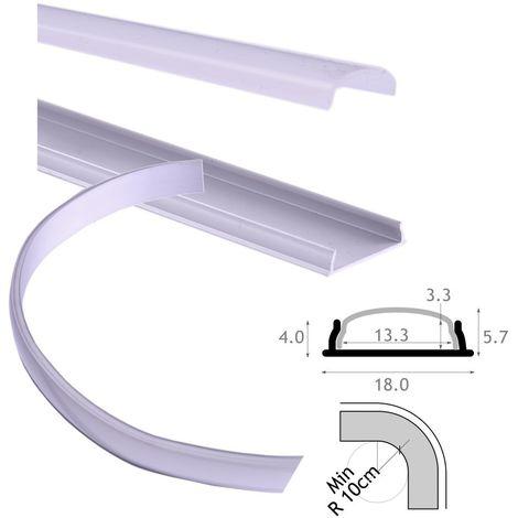 jandei Perfil aluminio flexible para tira led 18x4mm con tapa traslucida y accesorios