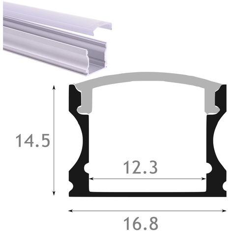 jandei Perfil aluminio led superficie 16x14 con tapa traslucida