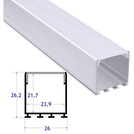 jandei Perfil aluminio superficie colgante 26 mm con tapa 2 metros