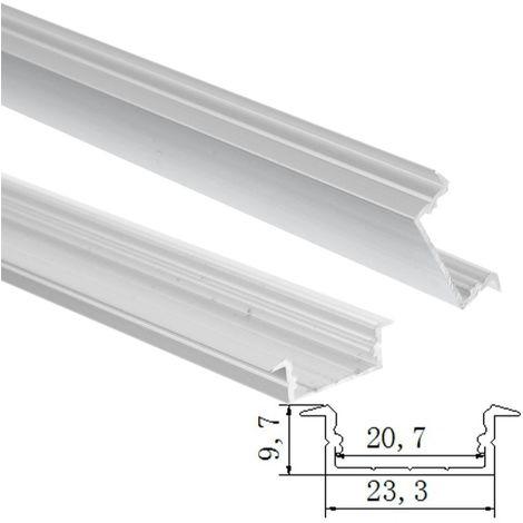 jandei Perfil Aluminio Tira led 2 Metros empotrar 23,3 * 9,7mm con Tapa