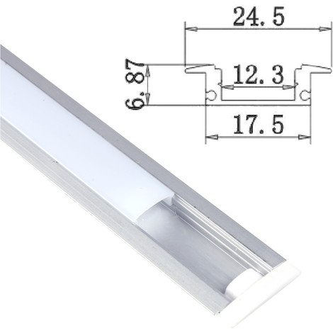 "main image of ""jandei Perfil Aluminio Tira led 2 Metros empotrar Tapa Redondeada traslúcida 24,5x17,5mm"""